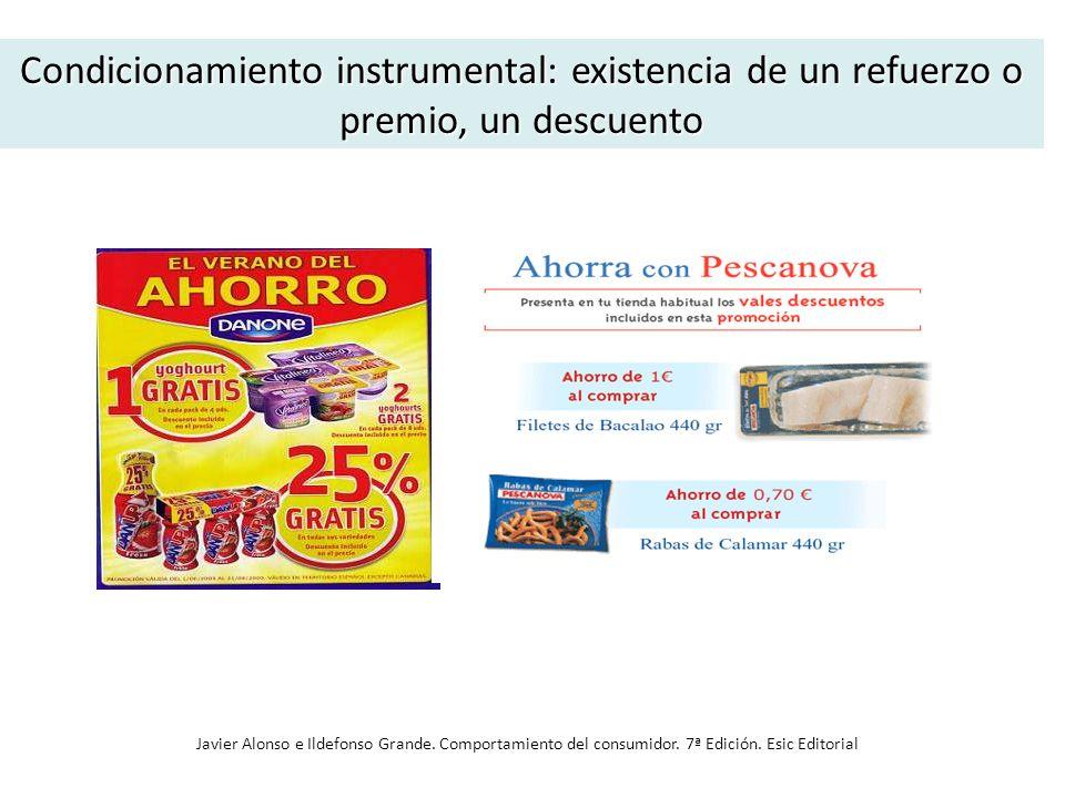 Condicionamiento instrumental: existencia de un refuerzo o premio, un descuento Javier Alonso e Ildefonso Grande. Comportamiento del consumidor. 7ª Ed