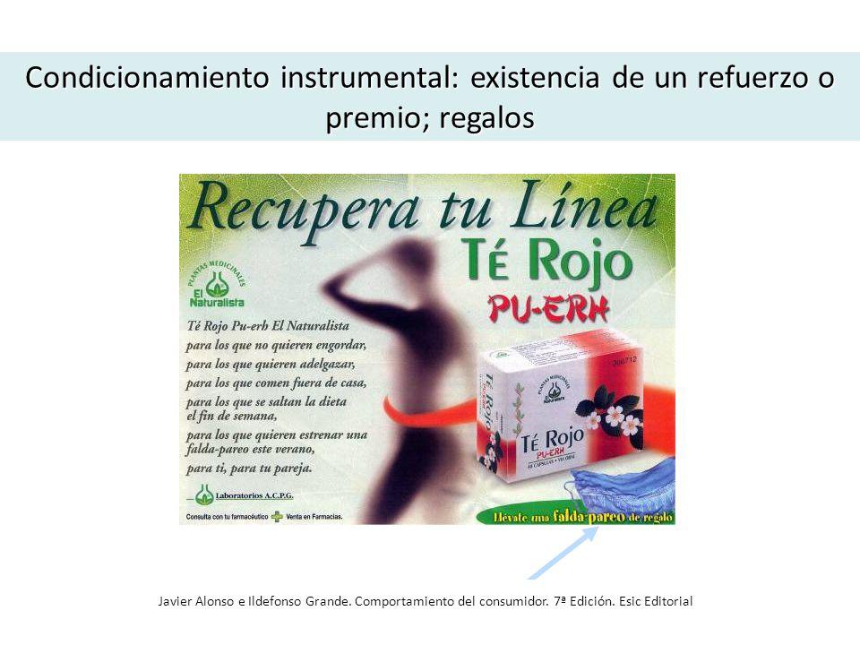 Condicionamiento instrumental: existencia de un refuerzo o premio; regalos Javier Alonso e Ildefonso Grande. Comportamiento del consumidor. 7ª Edición
