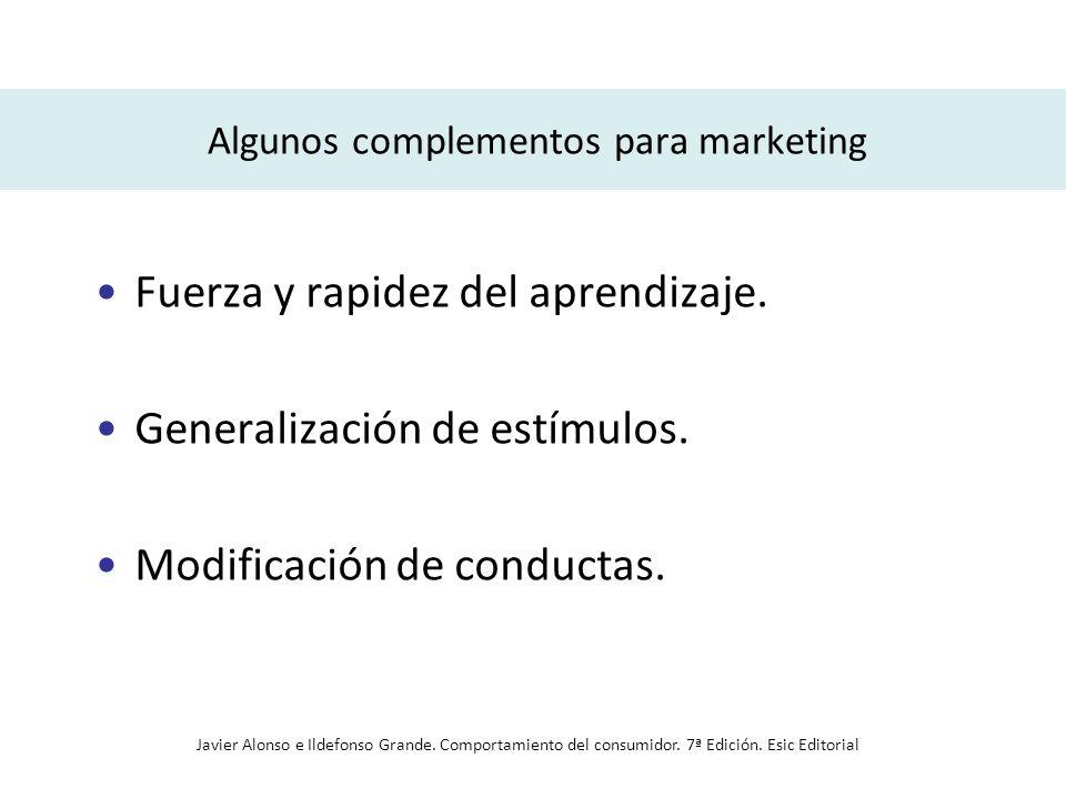 Algunos complementos para marketing Fuerza y rapidez del aprendizaje. Generalización de estímulos. Modificación de conductas. Javier Alonso e Ildefons