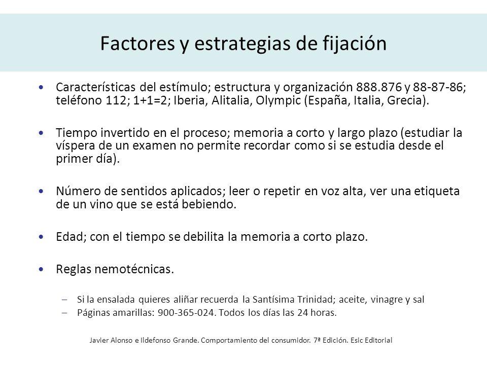 Factores y estrategias de fijación Características del estímulo; estructura y organización 888.876 y 88-87-86; teléfono 112; 1+1=2; Iberia, Alitalia,