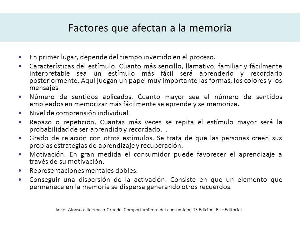 Factores que afectan a la memoria En primer lugar, depende del tiempo invertido en el proceso. Características del estímulo. Cuanto más sencillo, llam