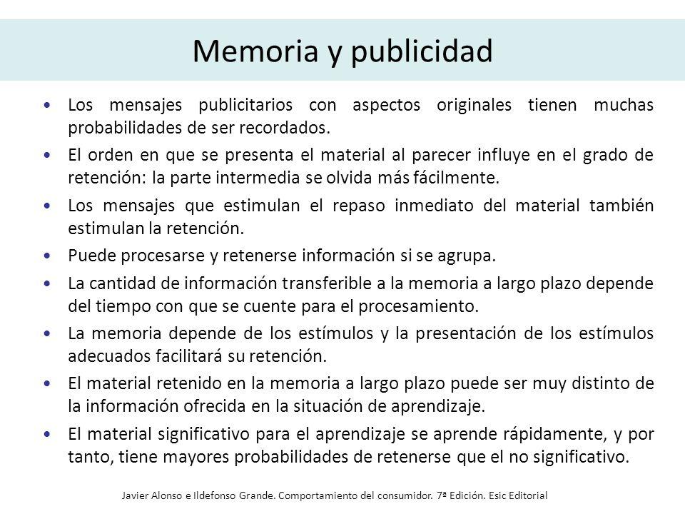 Memoria y publicidad Los mensajes publicitarios con aspectos originales tienen muchas probabilidades de ser recordados. El orden en que se presenta el