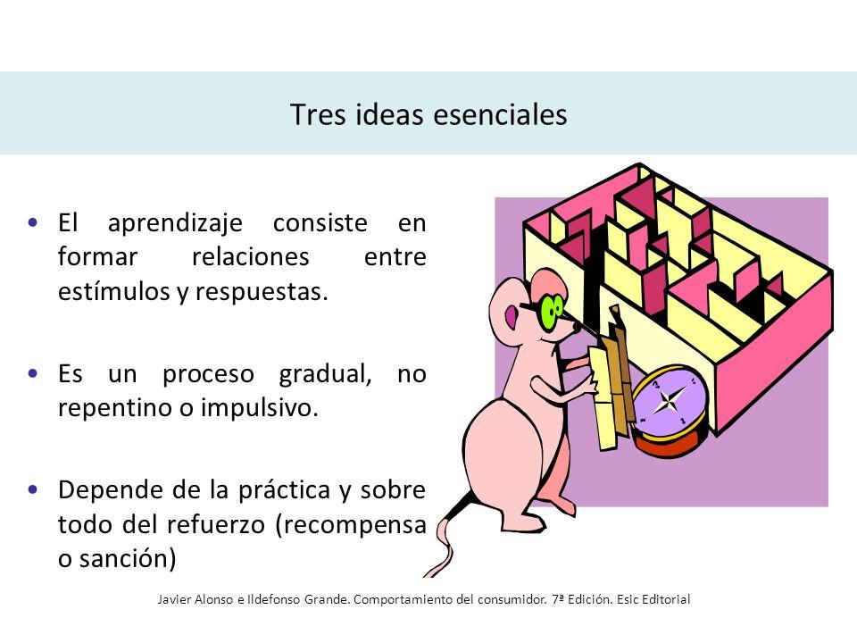 Tres ideas esenciales El aprendizaje consiste en formar relaciones entre estímulos y respuestas. Es un proceso gradual, no repentino o impulsivo. Depe
