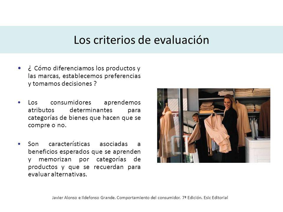 Los criterios de evaluación ¿ Cómo diferenciamos los productos y las marcas, establecemos preferencias y tomamos decisiones ? Los consumidores aprende