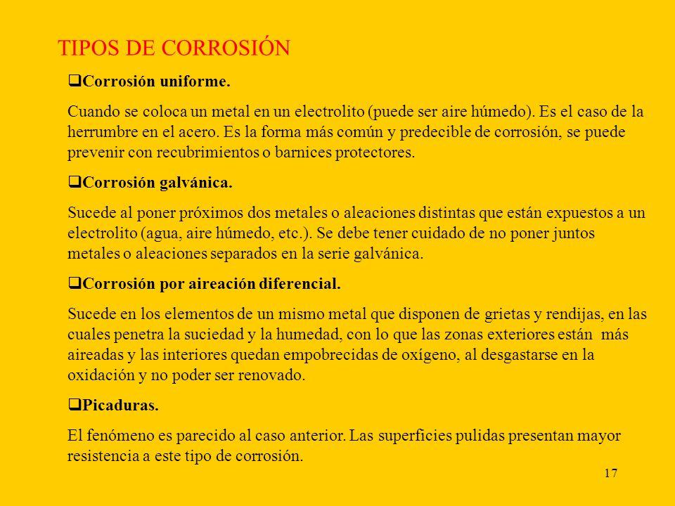 17 TIPOS DE CORROSIÓN Corrosión uniforme.