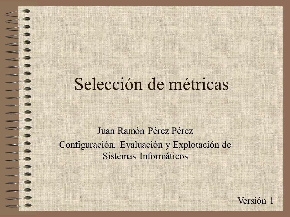Selección de métricas Versión 1 Juan Ramón Pérez Pérez Configuración, Evaluación y Explotación de Sistemas Informáticos