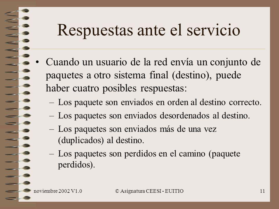 noviembre 2002 V1.0© Asignatura CEESI - EUITIO11 Respuestas ante el servicio Cuando un usuario de la red envía un conjunto de paquetes a otro sistema final (destino), puede haber cuatro posibles respuestas: –Los paquete son enviados en orden al destino correcto.