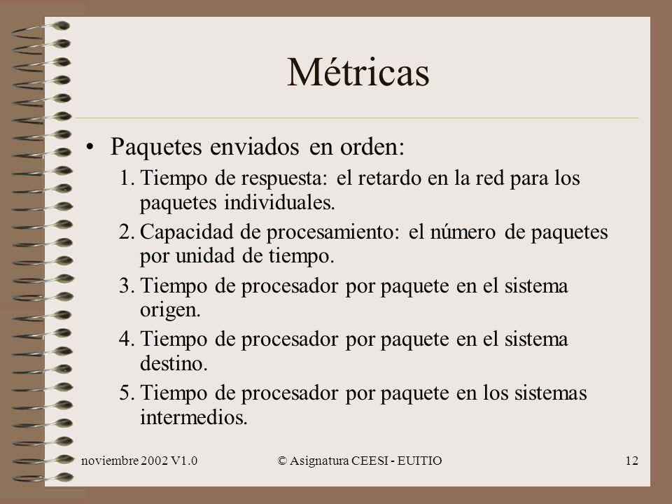 noviembre 2002 V1.0© Asignatura CEESI - EUITIO12 Métricas Paquetes enviados en orden: 1.Tiempo de respuesta: el retardo en la red para los paquetes individuales.