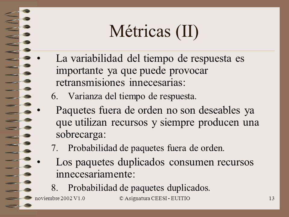noviembre 2002 V1.0© Asignatura CEESI - EUITIO13 Métricas (II) La variabilidad del tiempo de respuesta es importante ya que puede provocar retransmisiones innecesarias: 6.Varianza del tiempo de respuesta.