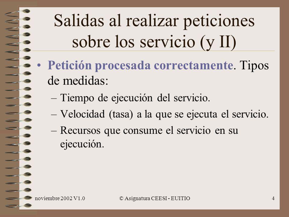 noviembre 2002 V1.0© Asignatura CEESI - EUITIO4 Salidas al realizar peticiones sobre los servicio (y II) Petición procesada correctamente.