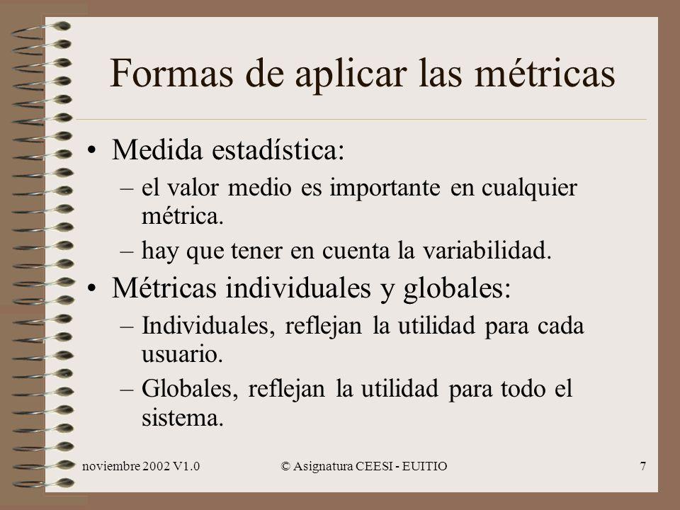 noviembre 2002 V1.0© Asignatura CEESI - EUITIO7 Formas de aplicar las métricas Medida estadística: –el valor medio es importante en cualquier métrica.