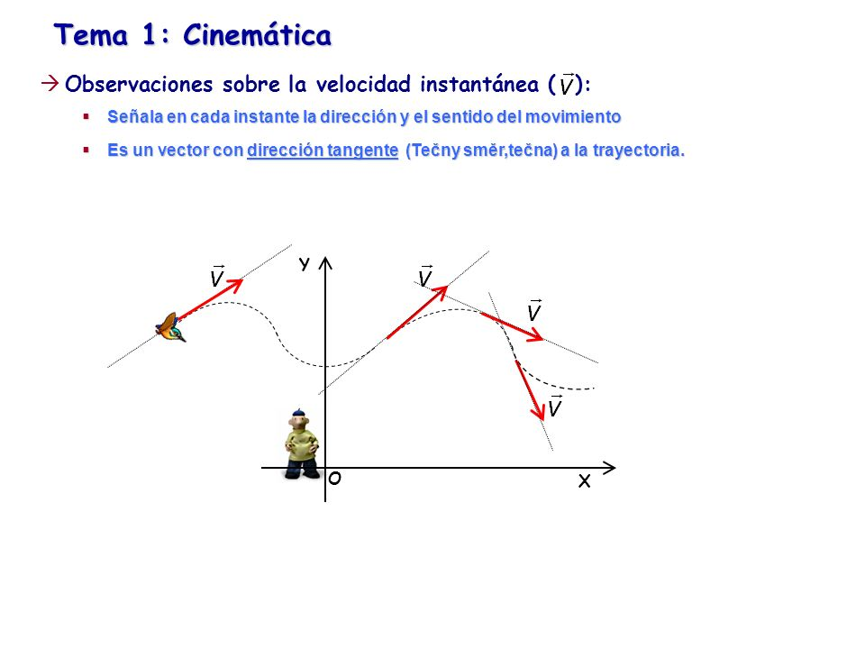 Tema 1: Cinemática Observaciones sobre la velocidad instantánea ( ): Señala en cada instante la dirección y el sentido del movimiento Señala en cada i
