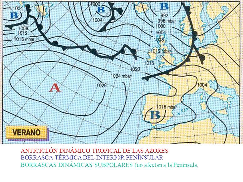 ANTICICLÓN DINÁMICO TROPICAL DE LAS AZORES BORRASCA TÉRMICA DEL INTERIOR PENÍNSULAR BORRASCAS DINÁMICAS SUBPOLARES (no afectan a la Península.