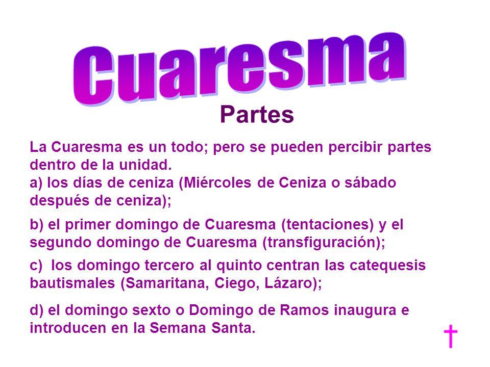 Partes La Cuaresma es un todo; pero se pueden percibir partes dentro de la unidad. a) los días de ceniza (Miércoles de Ceniza o sábado después de ceni