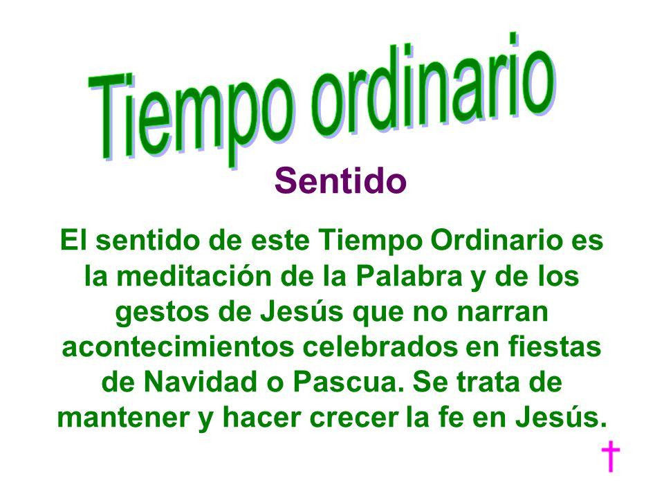 Sentido El sentido de este Tiempo Ordinario es la meditación de la Palabra y de los gestos de Jesús que no narran acontecimientos celebrados en fiesta