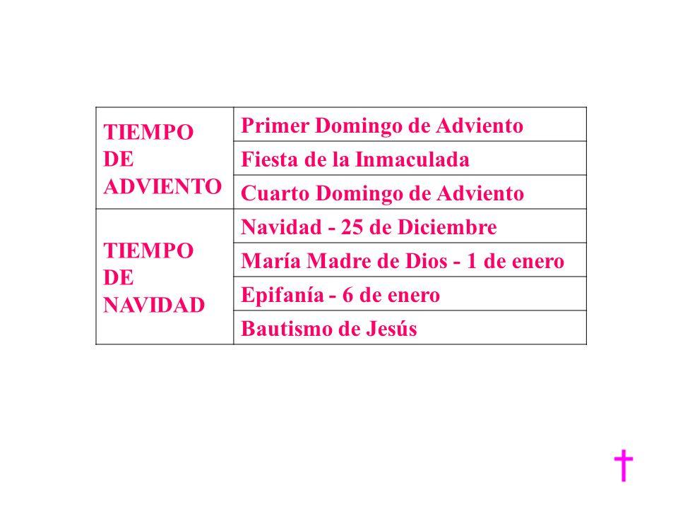 CELEBRACIONES MAS IMPORTANTES EN EL AÑO LITÚRGICO.\ TIEMPO DE ADVIENTO Primer Domingo de Adviento Fiesta de la Inmaculada Cuarto Domingo de Adviento T