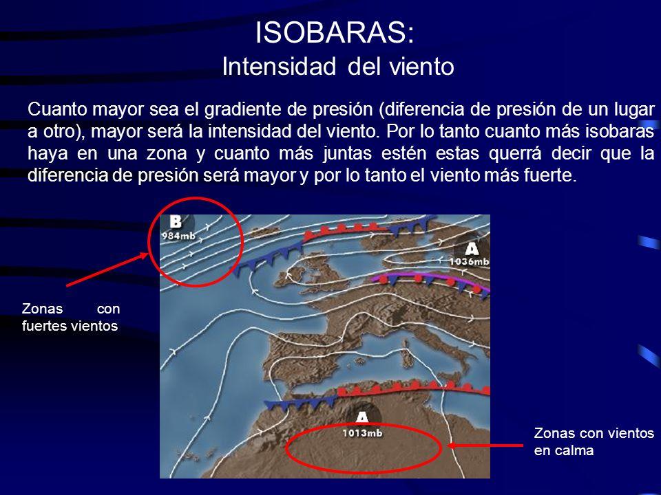 ISOBARAS: Intensidad del viento Cuanto mayor sea el gradiente de presión (diferencia de presión de un lugar a otro), mayor será la intensidad del vien