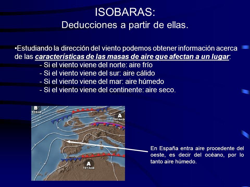 ISOBARAS: Deducciones a partir de ellas. Estudiando la dirección del viento podemos obtener información acerca de las características de las masas de