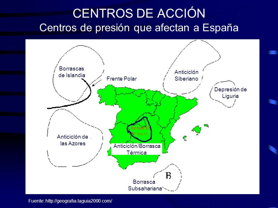 CENTROS DE ACCIÓN Centros de presión que afectan a España Fuente: http://geografia.laguia2000.com/ Borrascas de Islandia Frente Polar Anticiclón Siber
