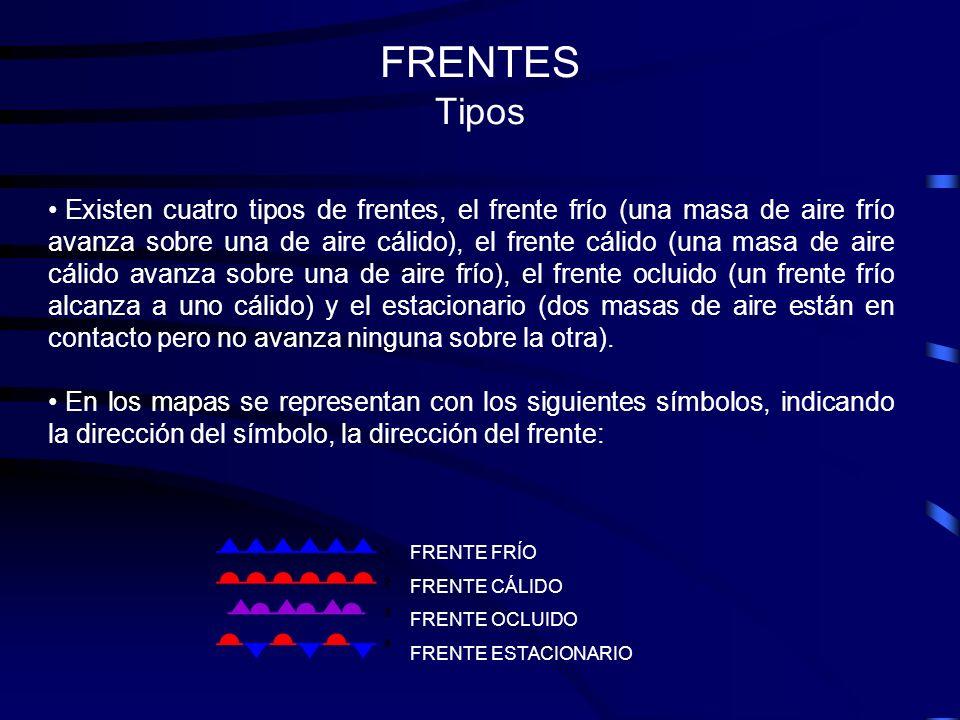 FRENTES Tipos FRENTE FRÍO FRENTE CÁLIDO FRENTE OCLUIDO FRENTE ESTACIONARIO Existen cuatro tipos de frentes, el frente frío (una masa de aire frío avan