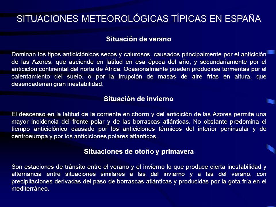 SITUACIONES METEOROLÓGICAS TÍPICAS EN ESPAÑA Situación de verano Dominan los tipos anticiclónicos secos y calurosos, causados principalmente por el an