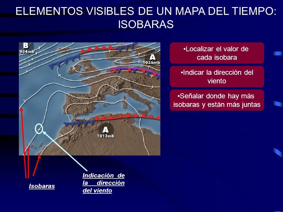 ELEMENTOS VISIBLES DE UN MAPA DEL TIEMPO: CENTROS DE ACCIÓN Centros de acción A: Alta presión (anticiclón) B: Baja presión (borrasca) Indicación numérica de la presión Localizar los centros de Altas (mayor de 1013 mb) y Bajas presiones (menor de 1013 mb) Señalar la presión del centro