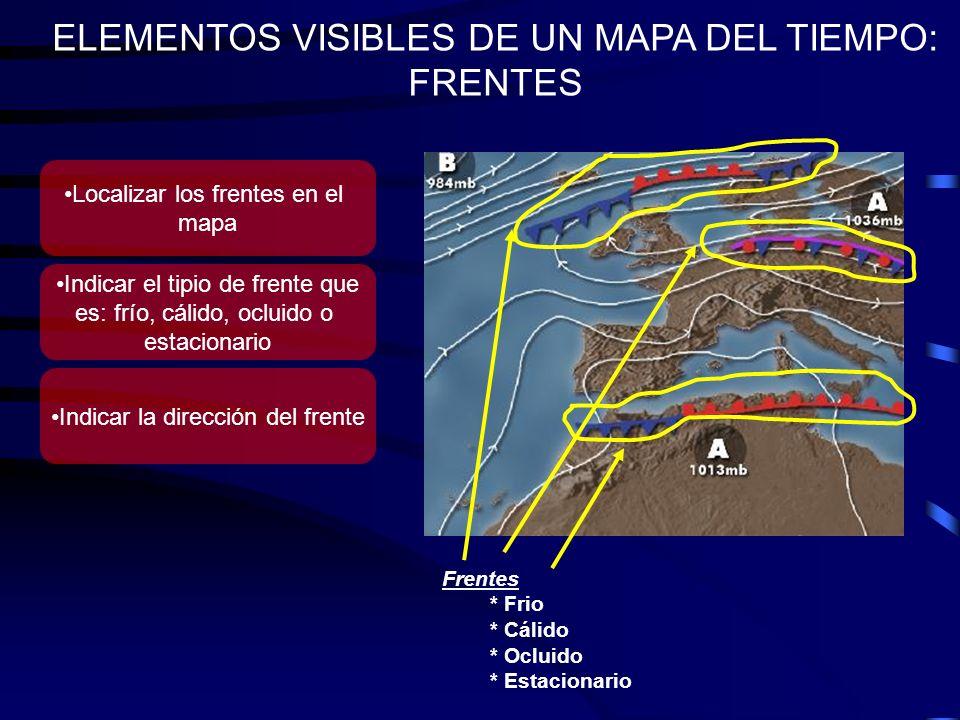ELEMENTOS VISIBLES DE UN MAPA DEL TIEMPO: FRENTES Frentes * Frio * Cálido * Ocluido * Estacionario Localizar los frentes en el mapa Indicar el tipio d