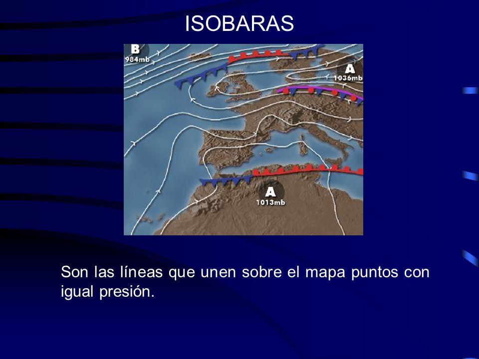 ISOBARAS: Dirección del viento El viento sigue la dirección de las isobaras desde las zonas de alta presión (anticiclones) hacia las zonas de baja presión (borrascas).
