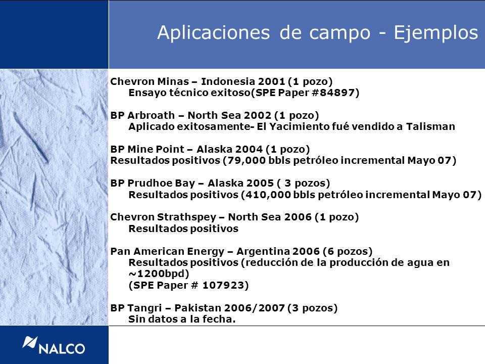 Chevron Minas – Indonesia 2001 (1 pozo) Ensayo técnico exitoso(SPE Paper #84897) BP Arbroath – North Sea 2002 (1 pozo) Aplicado exitosamente- El Yacim
