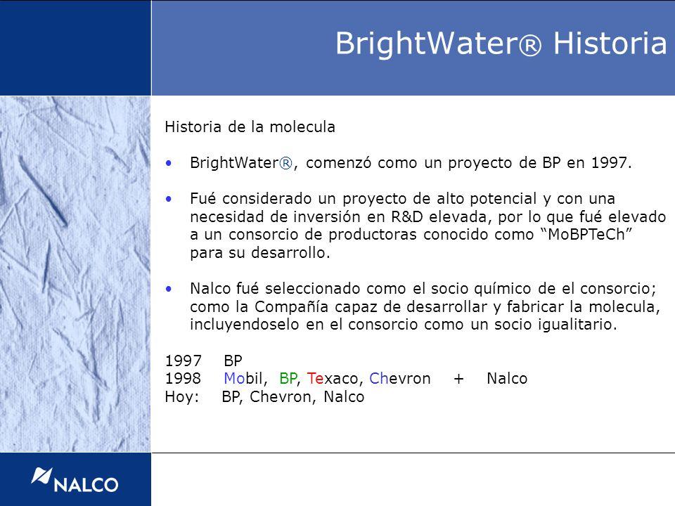 Historia de la molecula BrightWater®, comenzó como un proyecto de BP en 1997. Fué considerado un proyecto de alto potencial y con una necesidad de inv
