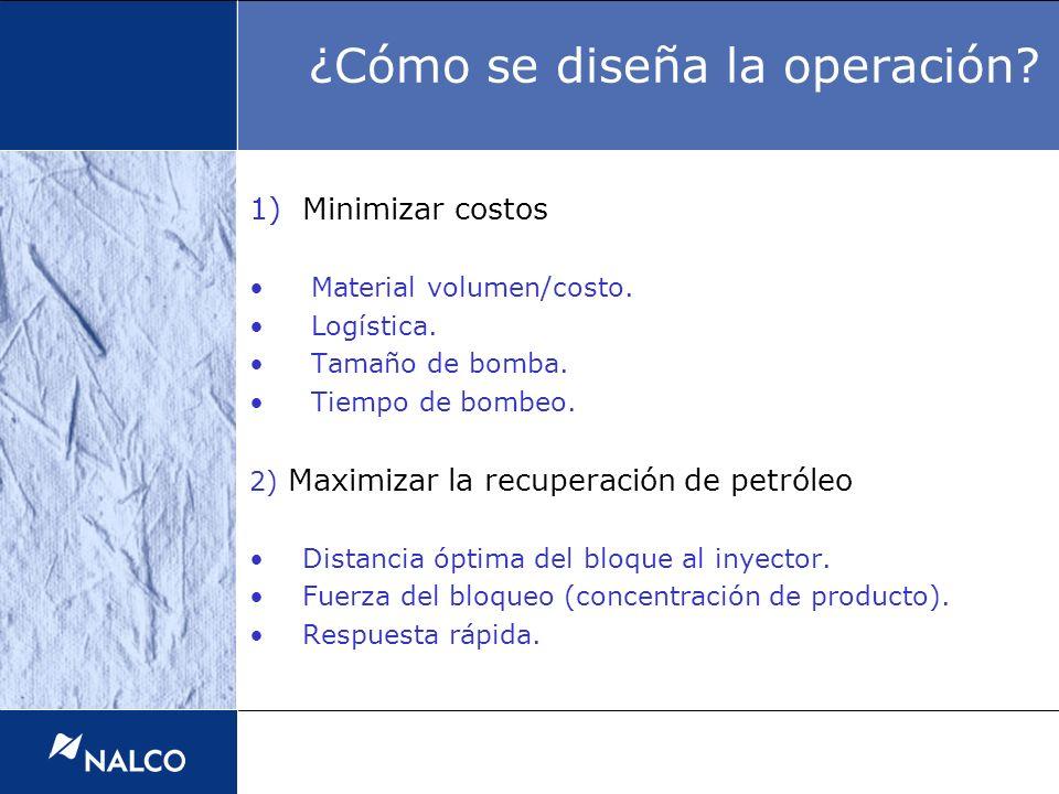 ¿Cómo se diseña la operación? 1)Minimizar costos Material volumen/costo. Logística. Tamaño de bomba. Tiempo de bombeo. 2) Maximizar la recuperación de