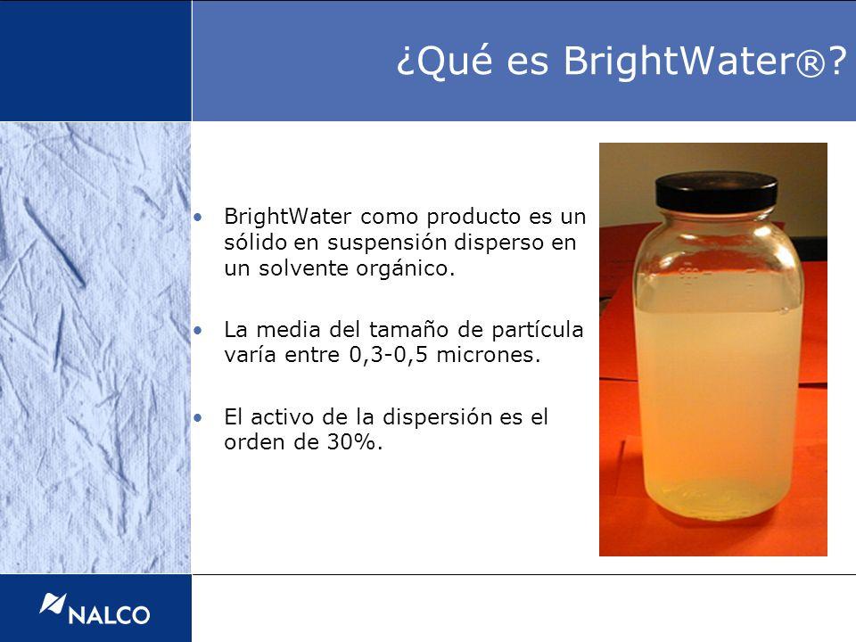 BrightWater como producto es un sólido en suspensión disperso en un solvente orgánico. La media del tamaño de partícula varía entre 0,3-0,5 micrones.