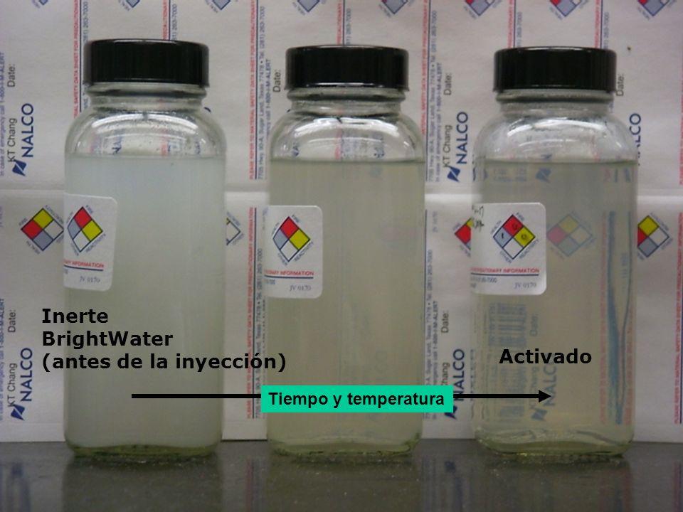 Tiempo y temperatura Inerte BrightWater (antes de la inyección) Activado