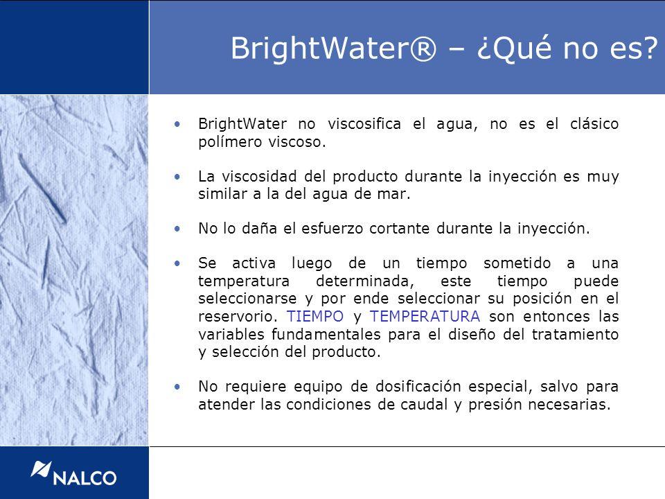BrightWater no viscosifica el agua, no es el clásico polímero viscoso. La viscosidad del producto durante la inyección es muy similar a la del agua de