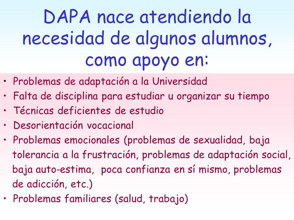DAPA nace atendiendo la necesidad de algunos alumnos, como apoyo en: Problemas de adaptación a la Universidad Falta de disciplina para estudiar u orga