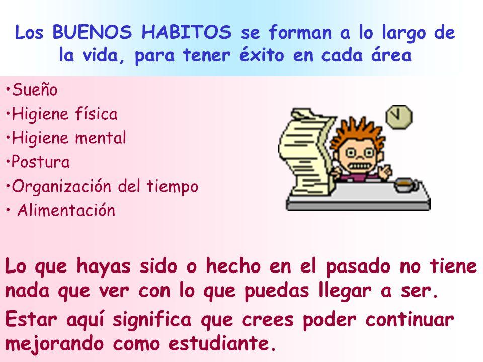 Los BUENOS HABITOS se forman a lo largo de la vida, para tener éxito en cada área Sueño Higiene física Higiene mental Postura Organización del tiempo