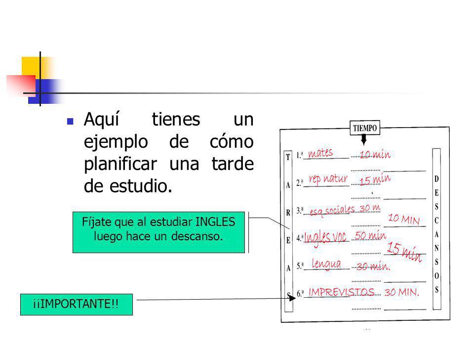 Aquí tienes un ejemplo de cómo planificar una tarde de estudio. Fíjate que al estudiar INGLES luego hace un descanso. ¡¡IMPORTANTE!!