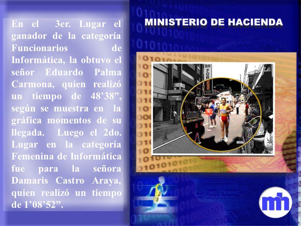 En el 3er. Lugar el ganador de la categoría Funcionarios de Informática, la obtuvo el señor Eduardo Palma Carmona, quien realizó un tiempo de 4838, se