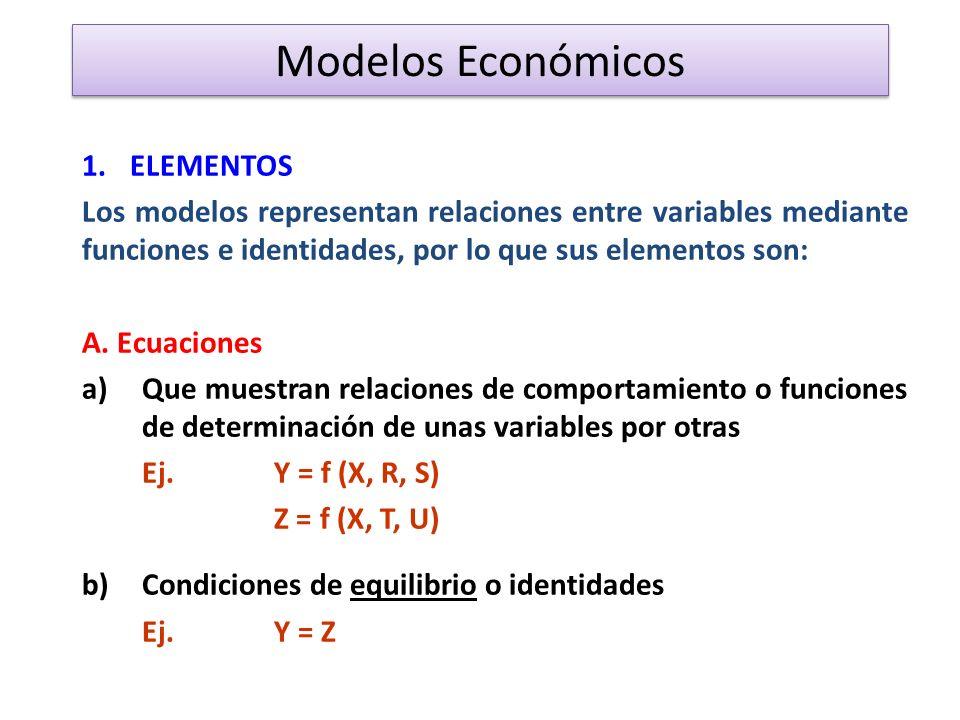 Modelos Económicos 1.ELEMENTOS Los modelos representan relaciones entre variables mediante funciones e identidades, por lo que sus elementos son: A.