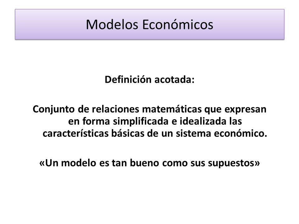 Modelos Económicos Definición acotada: Conjunto de relaciones matemáticas que expresan en forma simplificada e idealizada las características básicas de un sistema económico.