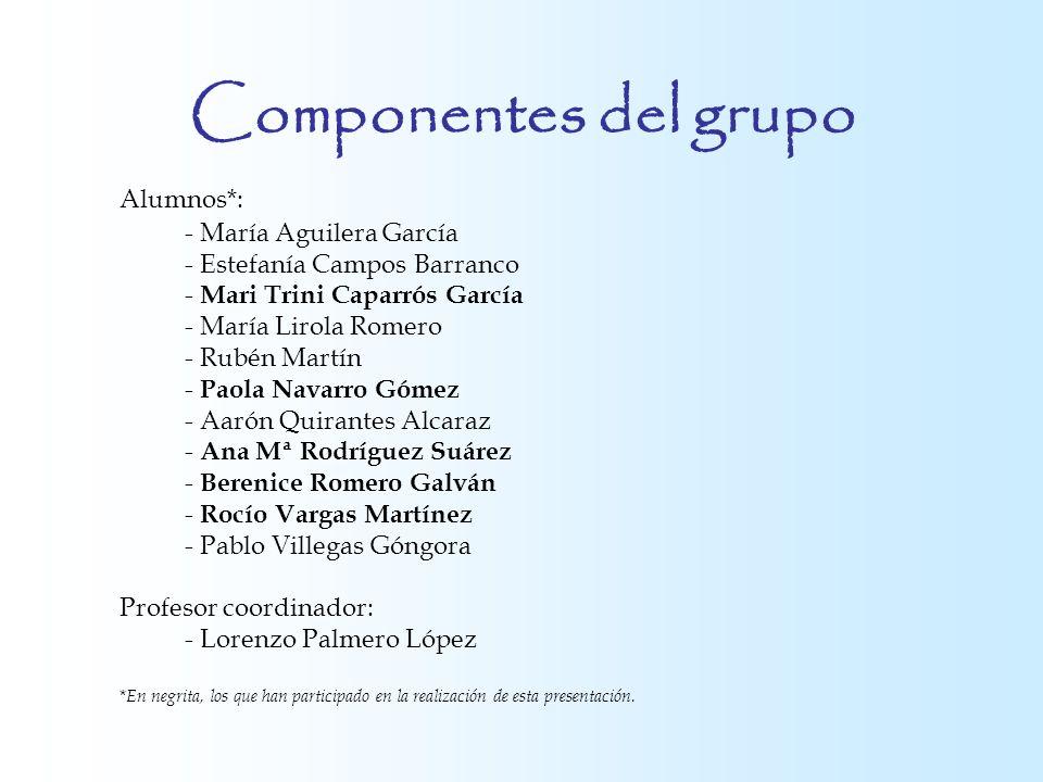 Componentes del grupo Alumnos*: - María Aguilera García - Estefanía Campos Barranco - Mari Trini Caparrós García - María Lirola Romero - Rubén Martín