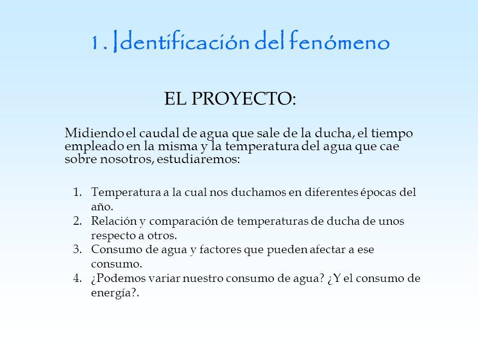 1. Identificación del fenómeno EL PROYECTO: Midiendo el caudal de agua que sale de la ducha, el tiempo empleado en la misma y la temperatura del agua
