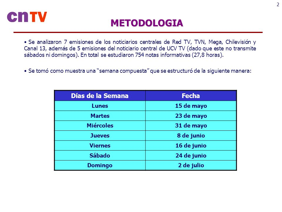 2METODOLOGIA Se analizaron 7 emisiones de los noticiarios centrales de Red TV, TVN, Mega, Chilevisión y Canal 13, además de 5 emisiones del noticiario central de UCV TV (dado que este no transmite sábados ni domingos).
