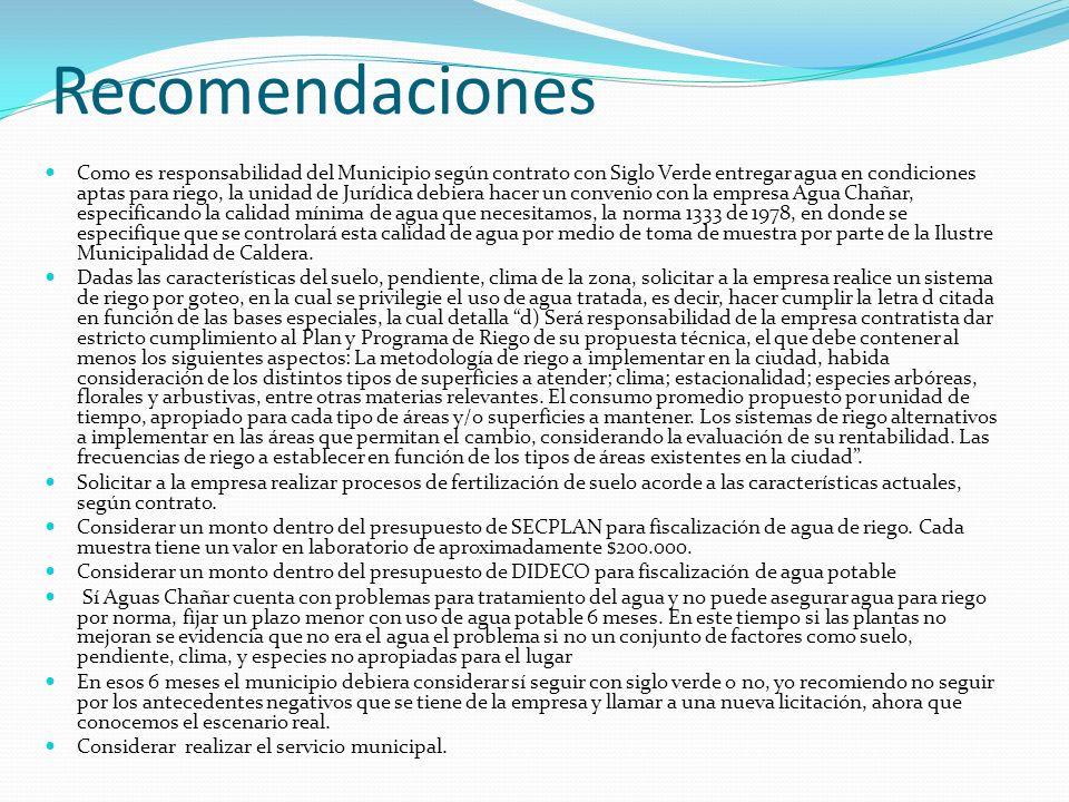 Recomendaciones Como es responsabilidad del Municipio según contrato con Siglo Verde entregar agua en condiciones aptas para riego, la unidad de Juríd