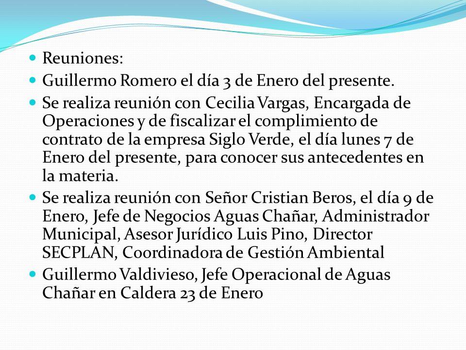 Reuniones: Guillermo Romero el día 3 de Enero del presente. Se realiza reunión con Cecilia Vargas, Encargada de Operaciones y de fiscalizar el complim