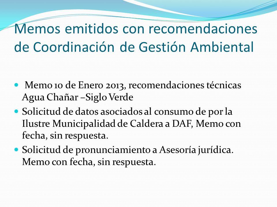 Memos emitidos con recomendaciones de Coordinación de Gestión Ambiental Memo 10 de Enero 2013, recomendaciones técnicas Agua Chañar –Siglo Verde Solic