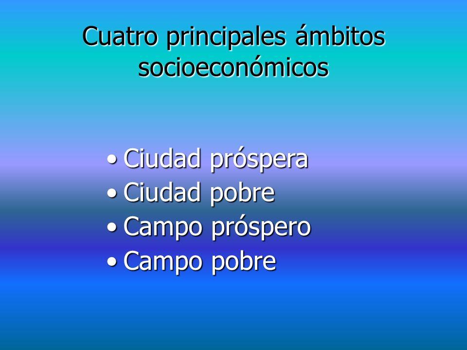Cuatro principales ámbitos socioeconómicos Ciudad prósperaCiudad próspera Ciudad pobreCiudad pobre Campo prósperoCampo próspero Campo pobreCampo pobre