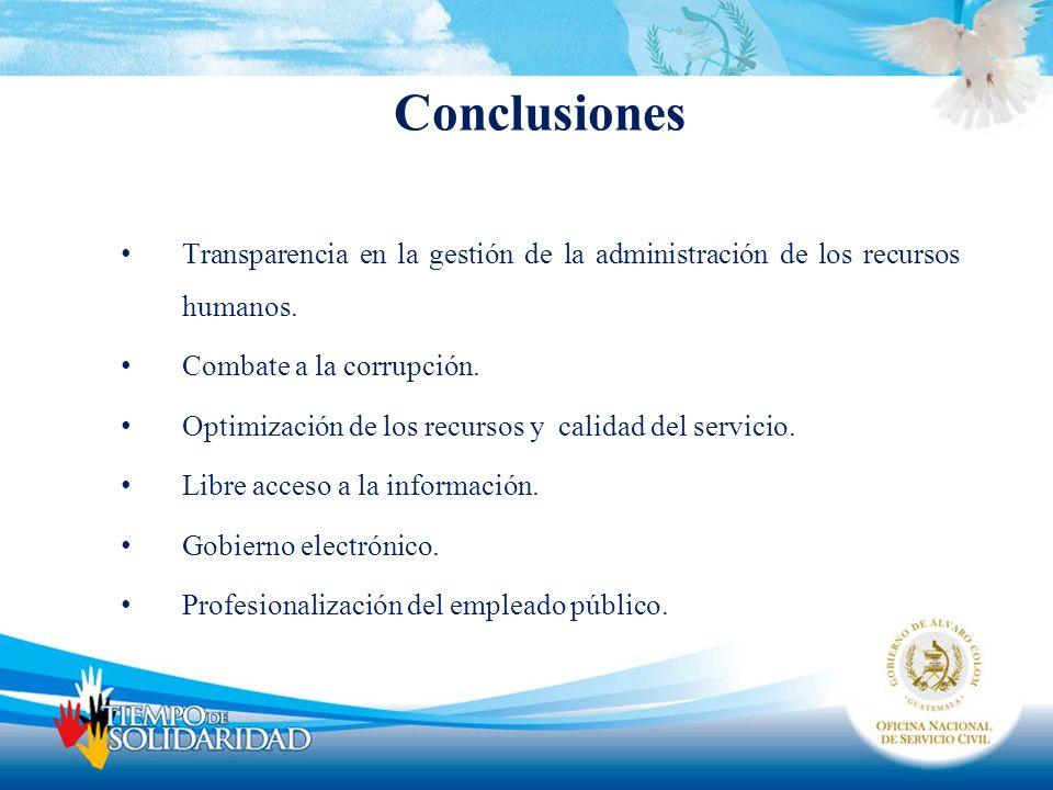 Conclusiones Transparencia en la gestión de la administración de los recursos humanos. Combate a la corrupción. Optimización de los recursos y calidad