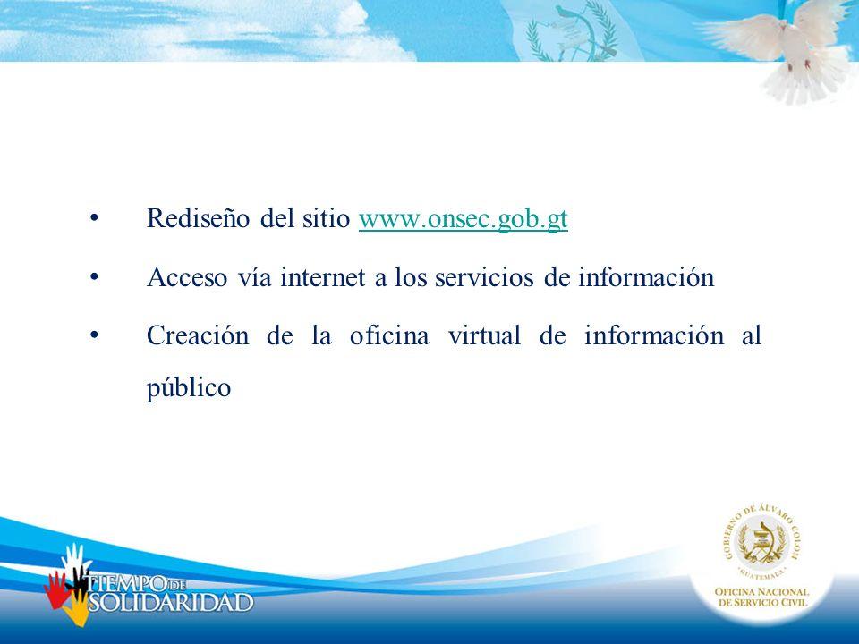 Rediseño del sitio www.onsec.gob.gtwww.onsec.gob.gt Acceso vía internet a los servicios de información Creación de la oficina virtual de información a