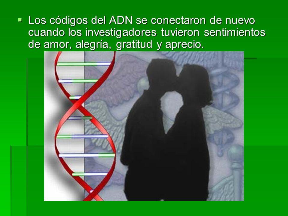 Los códigos del ADN se conectaron de nuevo cuando los investigadores tuvieron sentimientos de amor, alegría, gratitud y aprecio. Los códigos del ADN s